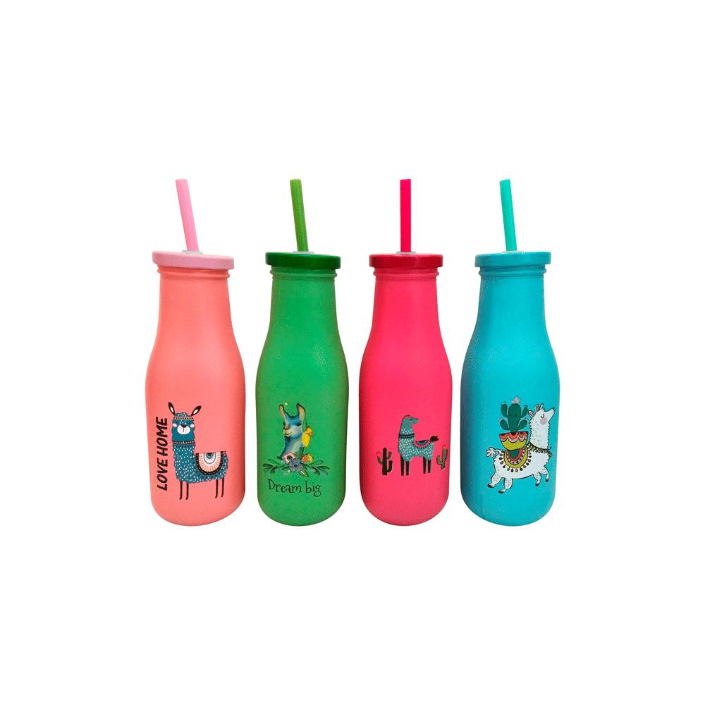 Botella de Cristal con Pajita Llamas - Detalles Boda Niños