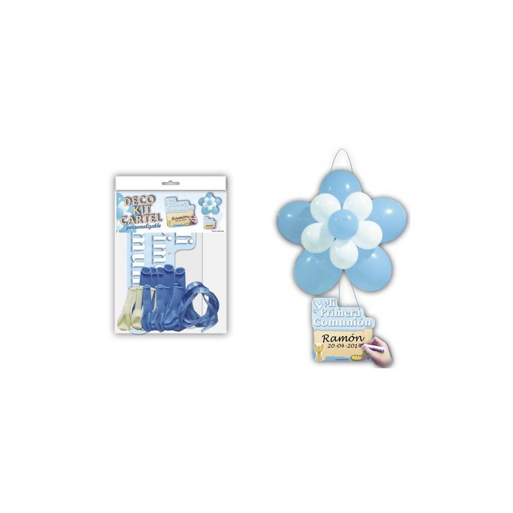 Kit Globos Flor y Cartel Personalizable Azul - Decoración De Comunión