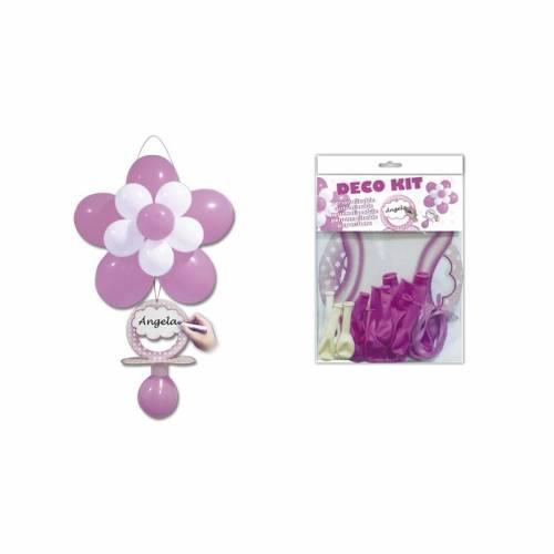 Kit Decoración Globos Flor y Chupete Rosa - Decoración De Bautizo