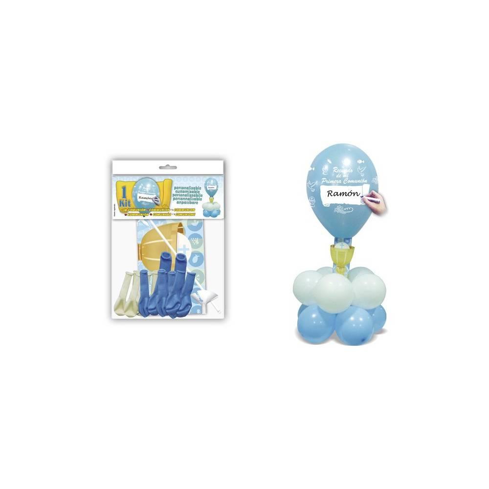 Centro Comunión Mesa Azul Kit Decoración Globos - Decoración De Comunión