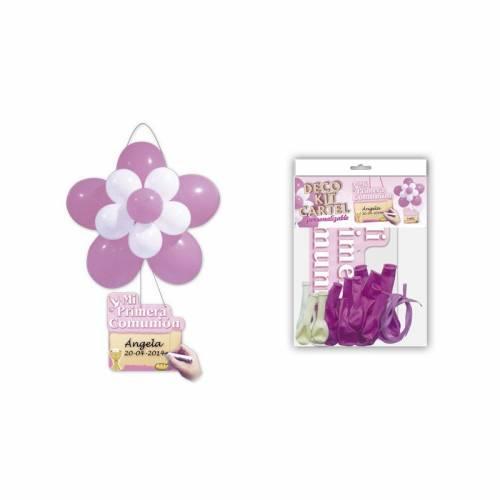 Kit Globos Flor Decoración Comunión Rosa - Decoración De Comunión