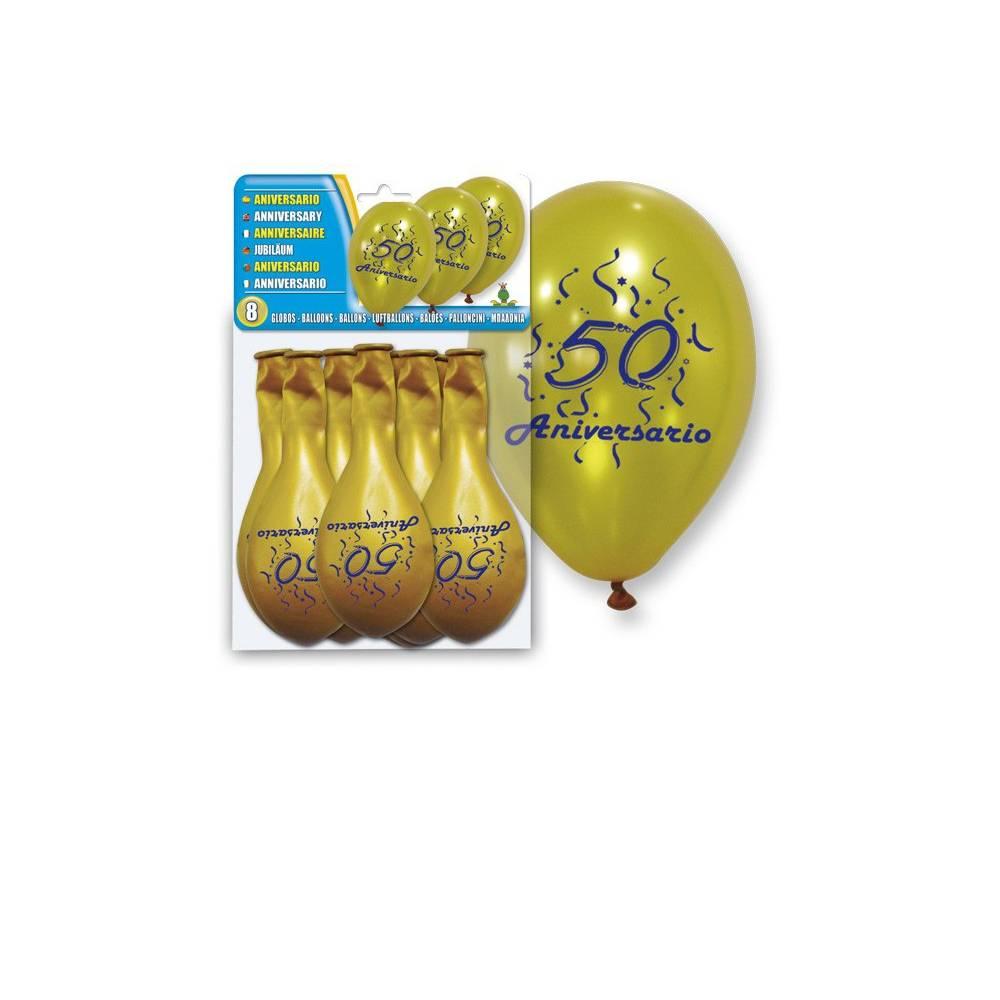 Set 8 Globos Oro 50 Aniversario Bodas de Oro - Decoración De Boda
