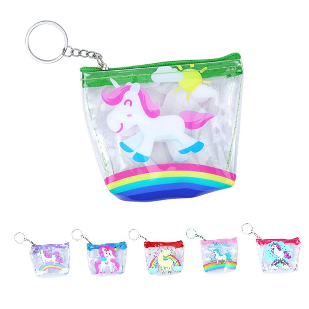 Monedero transparente de unicornio para niñas - Detalles Boda Niños