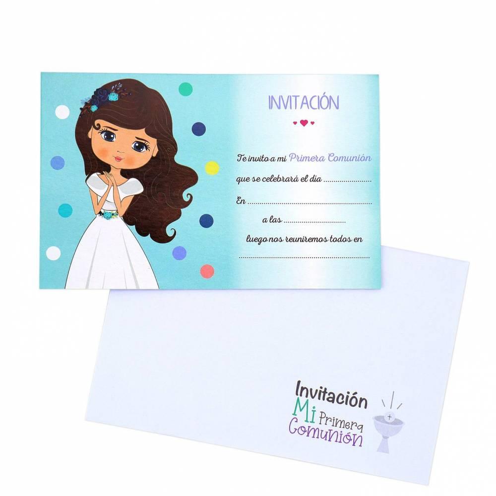 Invitación Comunión Niña Morena con Sobre - Decoración De Comunión
