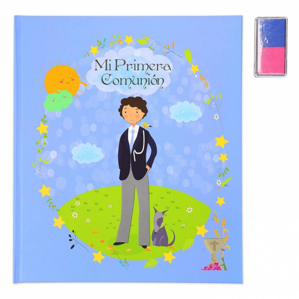 Libro Comunión Firmas Original con Almohadilla para Árbol de Huellas Niño (2 Colores) - Libros Comunión Firmas y Huellas