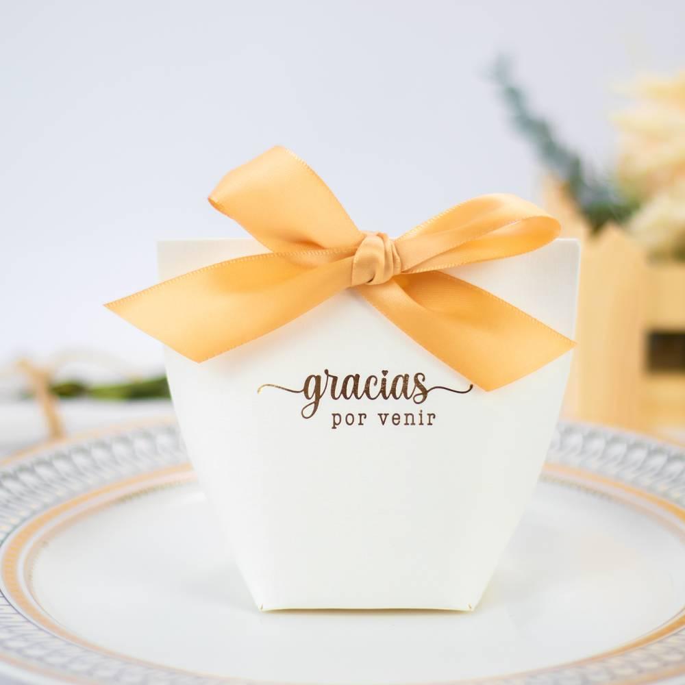 """Caja de regalo pequeña para detalles """"Gracias por venir"""" en dorado - Detalles De Boda"""