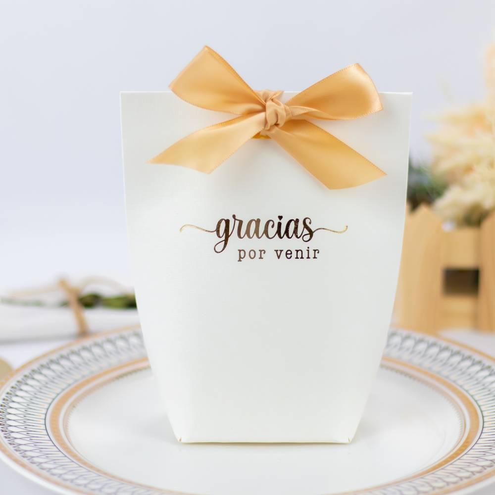 """Caja de regalo grande para detalles """"Gracias por venir"""" en dorado - Detalles De Boda"""