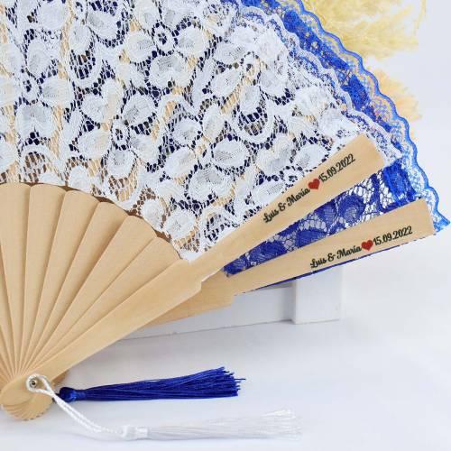 Abanicos de tela con encaje personalizados para regalar - Detalles Boda Personalizados