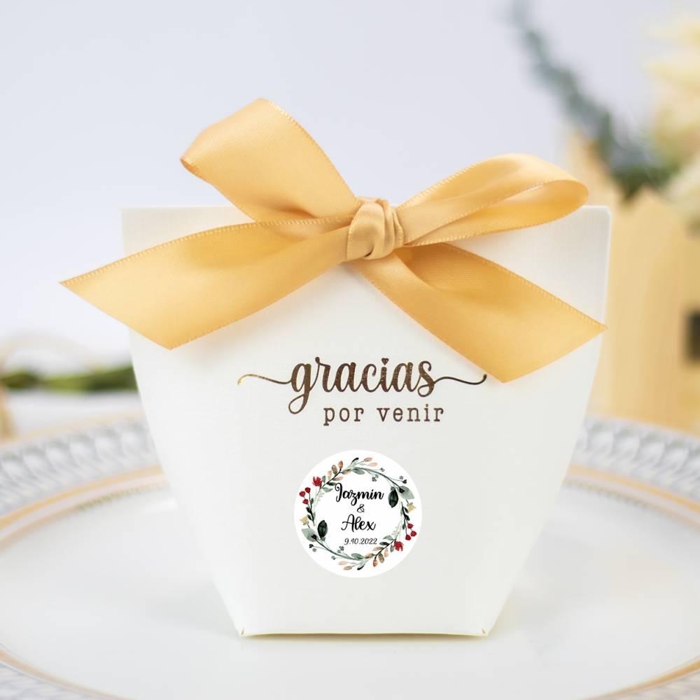 Caja de regalo para bodas con lazo etiqueta personalizable - Detalles De Boda