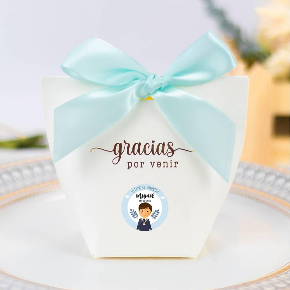Caja de regalo personalizable pequeña lazo azul Comunión niño - Detalles para comunión