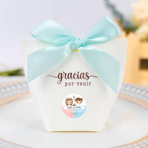 Caja de regalo pequeña para Comunión mellizos - Detalles para comunión