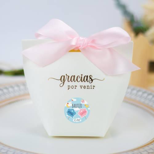 Caja de regalo pequeña para bautizo gemelos y mellizos - Detalles para comunión