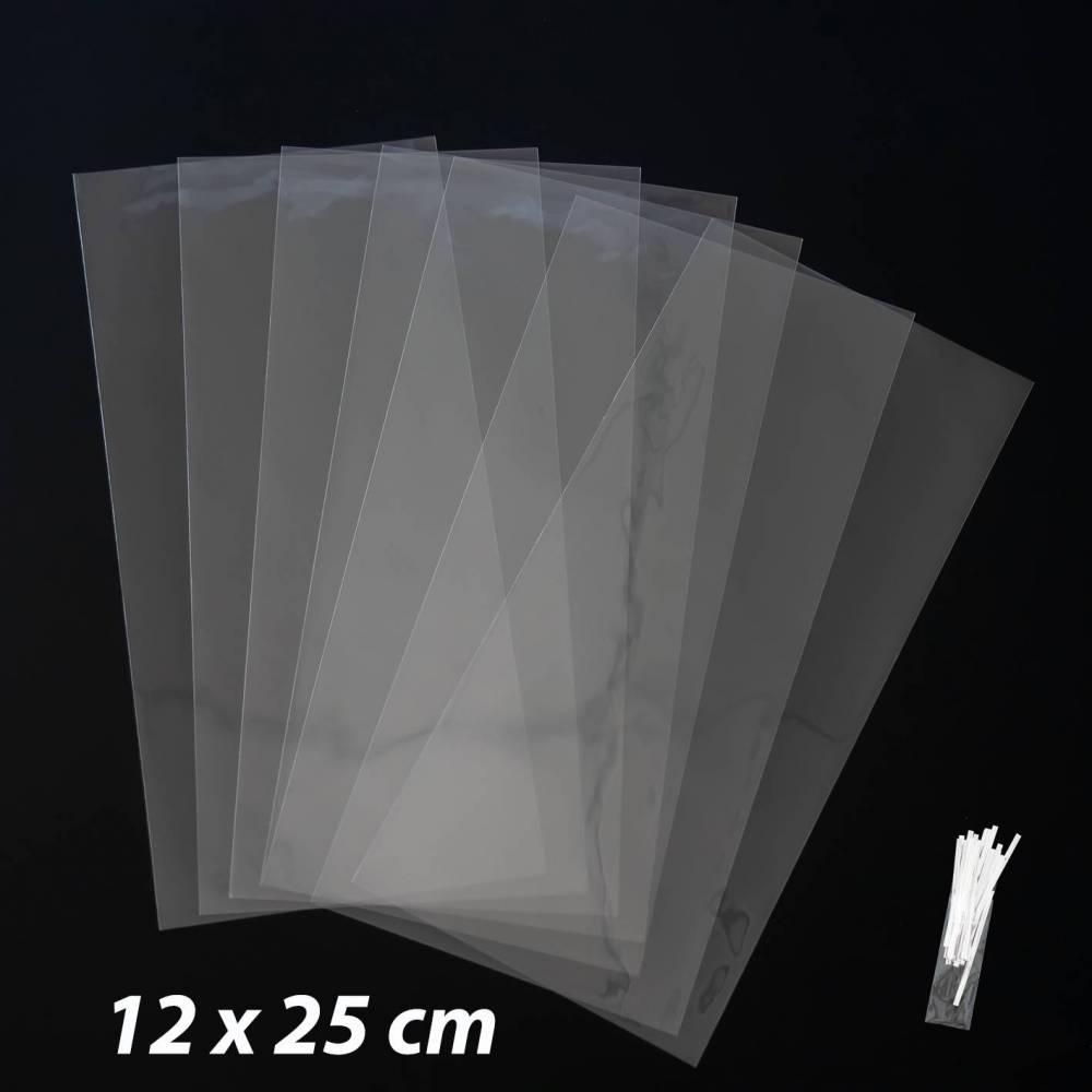 50 bolsas transparentes celofán 12x25cm - Envoltorio Regalo