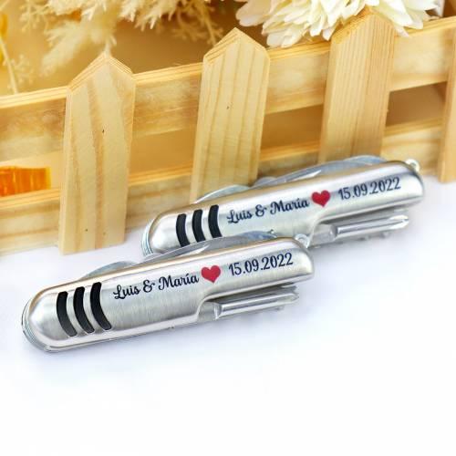 Navajas de acero multiusos personalizadas para bodas - Personalizables
