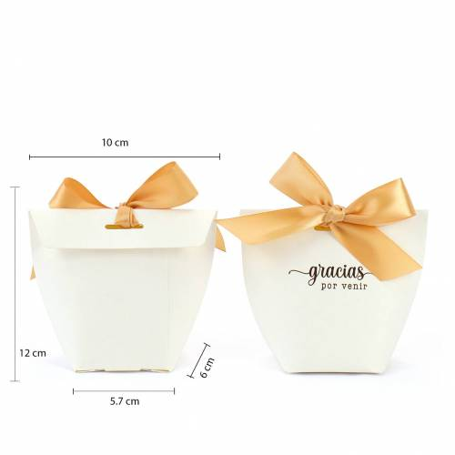 Caja de regalo para bodas personalizable con lazo - Detalles De Boda