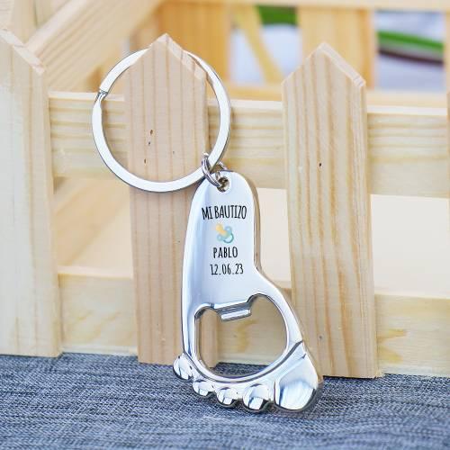 Llavero personalizado con forma pie de bebé niño detalles invitados - Detalles De Bautizo Para Hombres