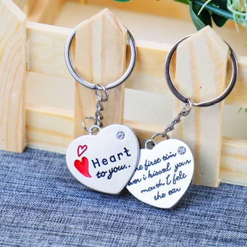 Llaveros metálicos con forma de corazón - Detalles De Boda