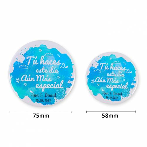 Espejo personalizado detalles de boda modelo azul - Detalles De Boda