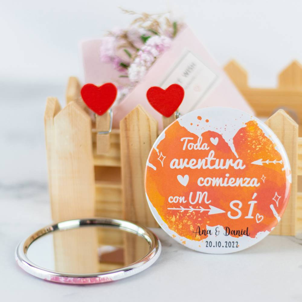 Espejo portátil personalizado modelo 2 detalles de boda - Detalles De Boda