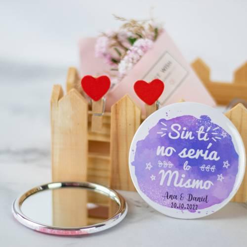 Espejo portátil personalizado modelo 4 detalles de boda - Detalles De Boda