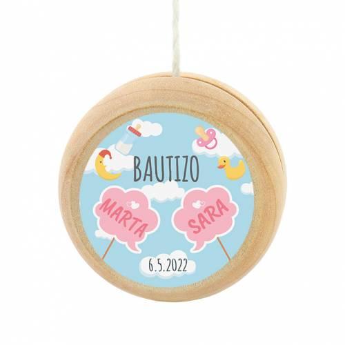 Yoyo pegatina personalizada modelo Gemelas para niña bautizo - Yoyo personalizado bautizo