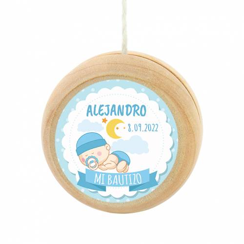 Yoyo pegatina personalizada modelo Dulces Sueños para niño bautizo - Detalles para bautizo
