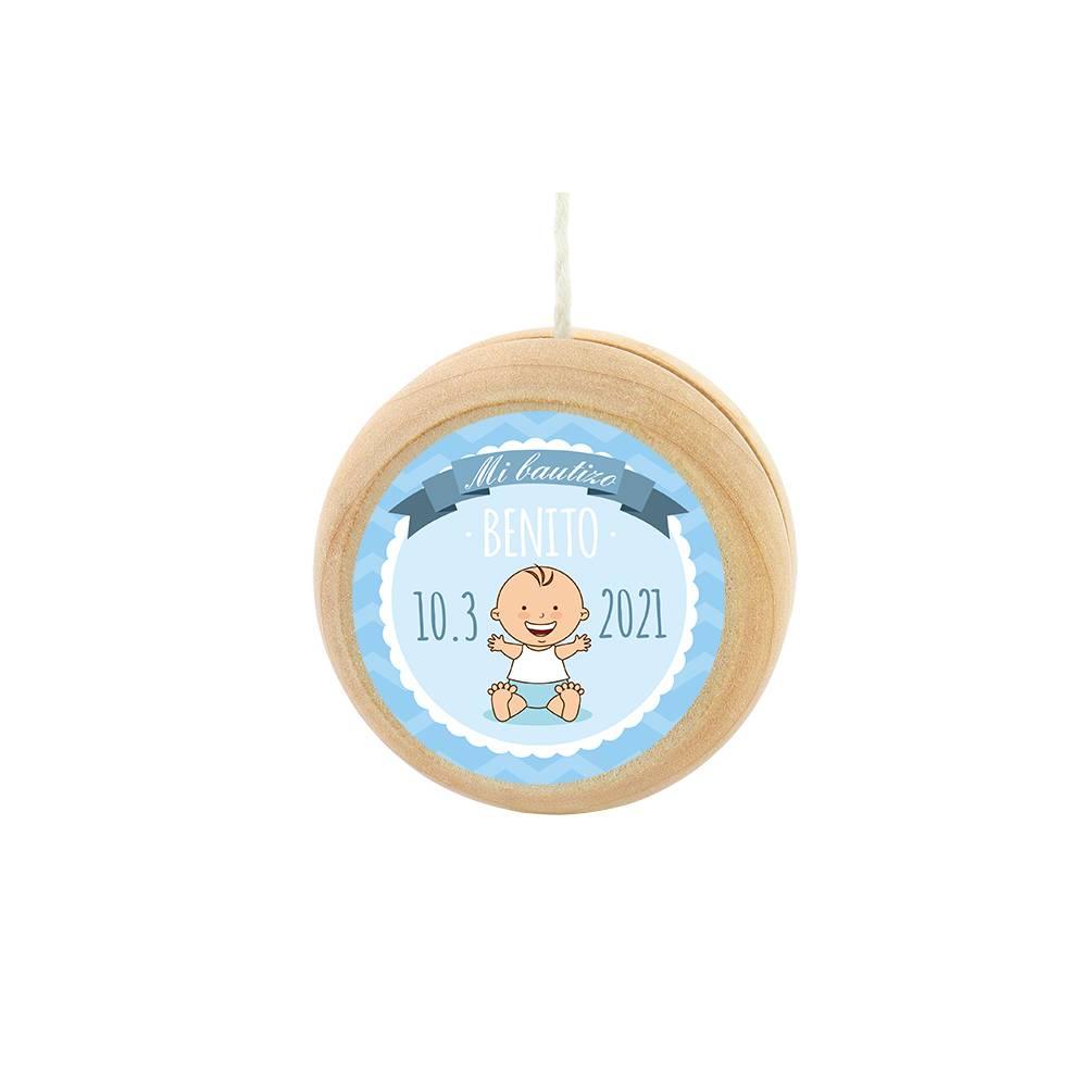 Yoyo pegatina personalizada modelo Olas para niño bautizo - Detalles para bautizo