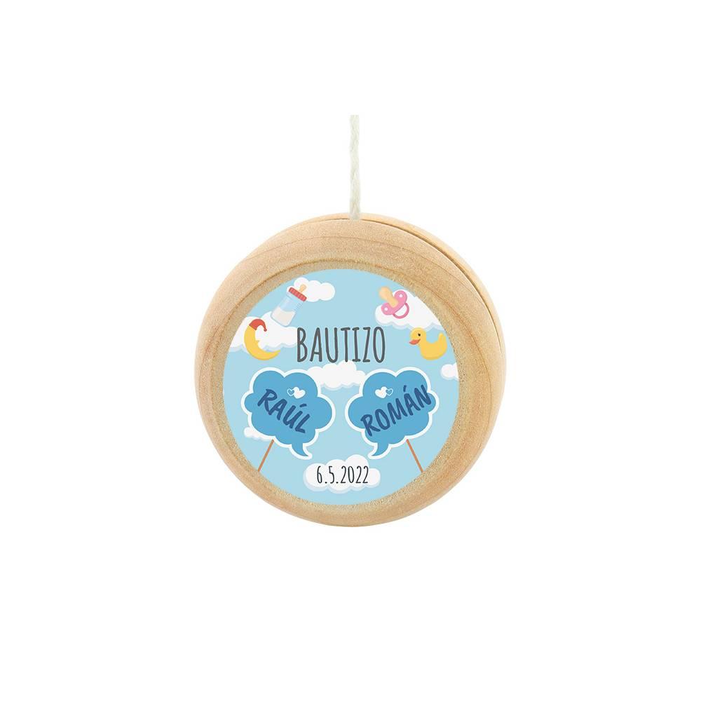 Yoyo pegatina personalizada modelo Gemelos para niño bautizo - Yoyo personalizado bautizo