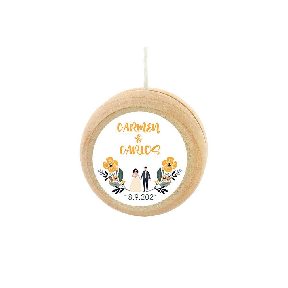 Yoyo pegatina personalizada modelo Girasol detalles de boda - Yoyo personalizado boda