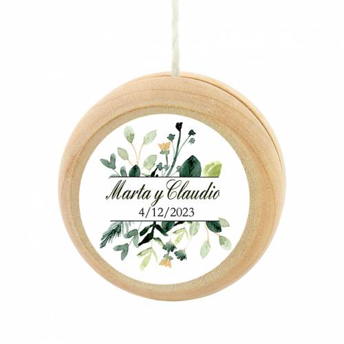 Yoyo pegatina personalizada modelo Nature detalles de boda - Yoyo personalizado boda
