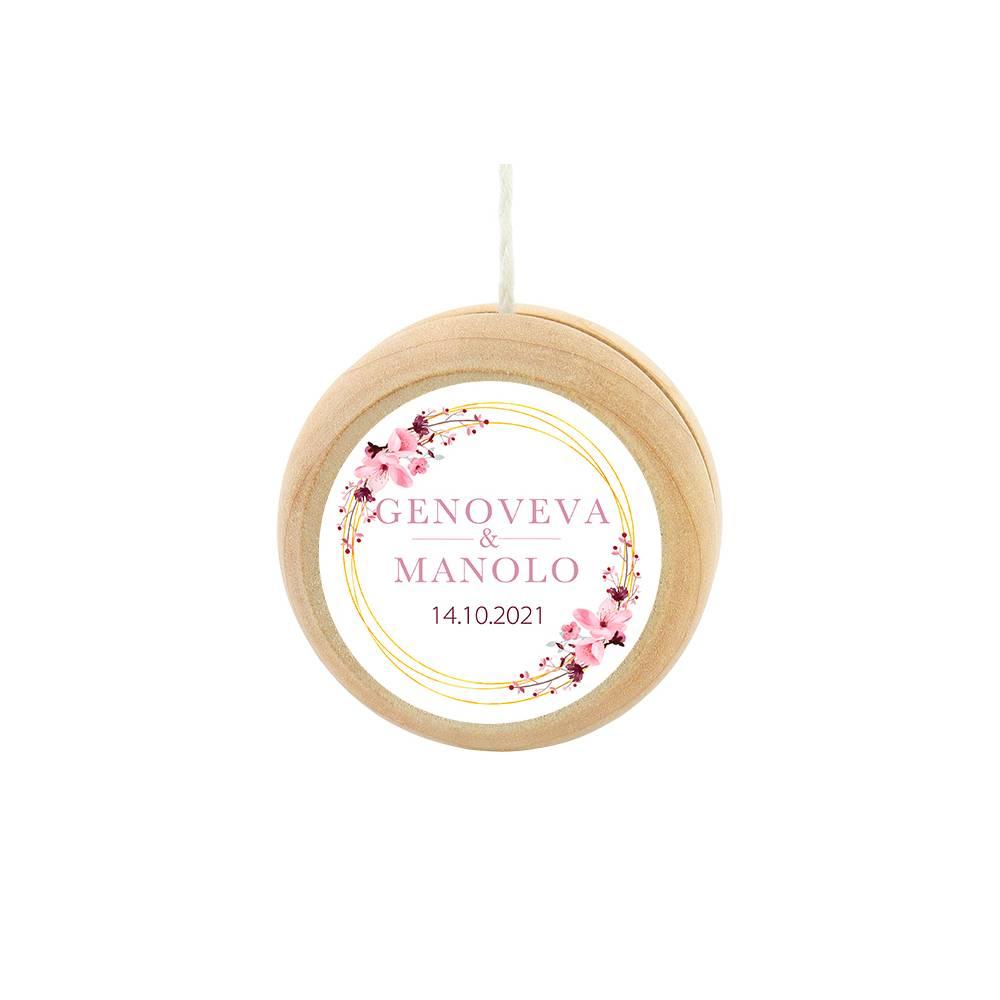 Yoyo pegatina personalizada modelo Pink Crown detalles de boda - Detalles De Boda