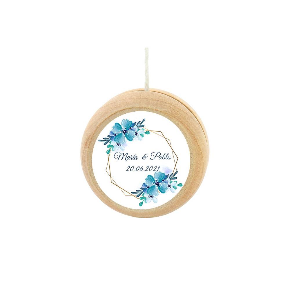 Yoyo pegatina personalizada modelo Azul detalles de boda - Detalles De Boda