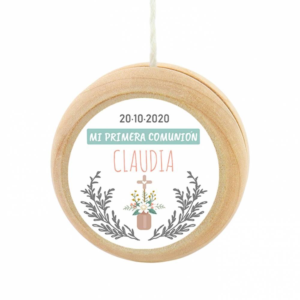 Yoyo pegatina personalizada modelo Claudia para niña comunión - Detalles para comunión