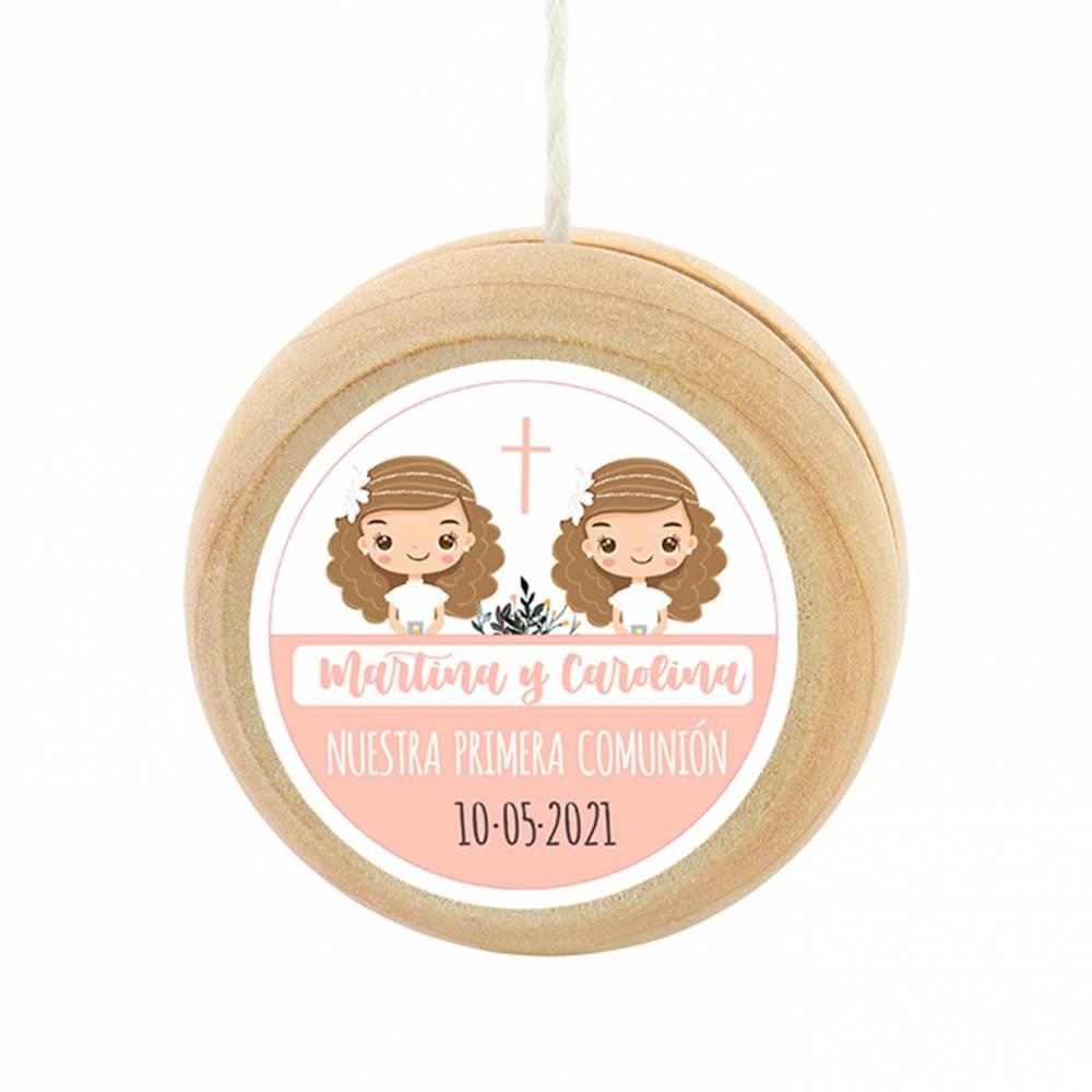 Yoyo pegatina personalizada modelo Gemelas para niña comunión - Detalles para comunión