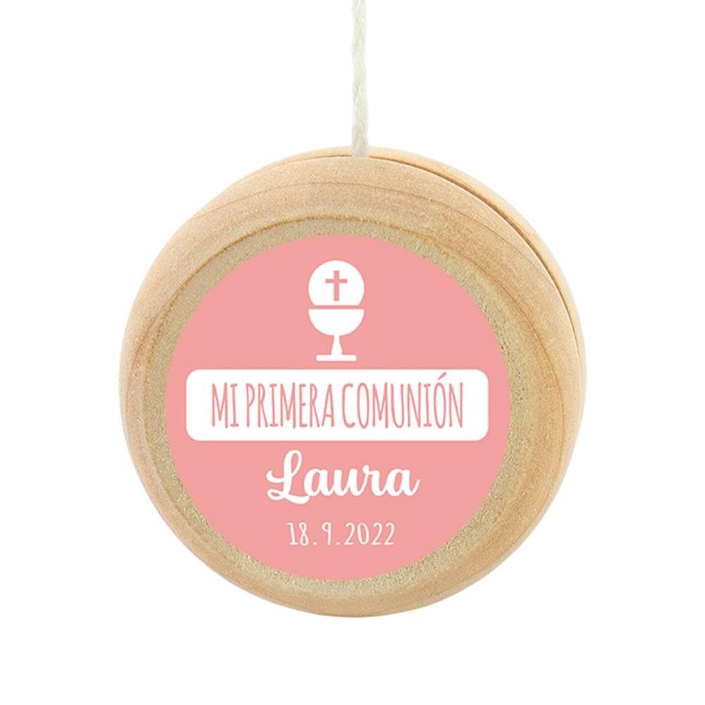 Yoyo pegatina personalizada modelo Laura para niña comunión - Detalles para comunión