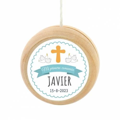Yoyo pegatina personalizada modelo Javi para niño comunión - Detalles para comunión