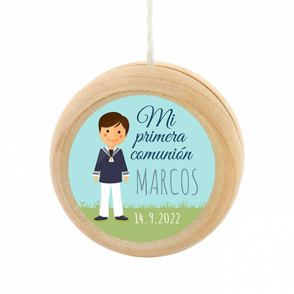 Yoyo pegatina personalizada modelo Marcos para niño comunión - Detalles para comunión