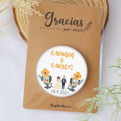 """Chapa personalizada con espejo """"Girasol"""" detalles boda mujer - Chapas Espejos Personalizados Boda"""