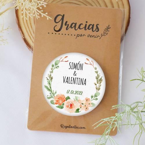 """Chapa con espejo personalizada """"Macedonia"""" detalles boda - Chapas Espejos Personalizados Boda"""