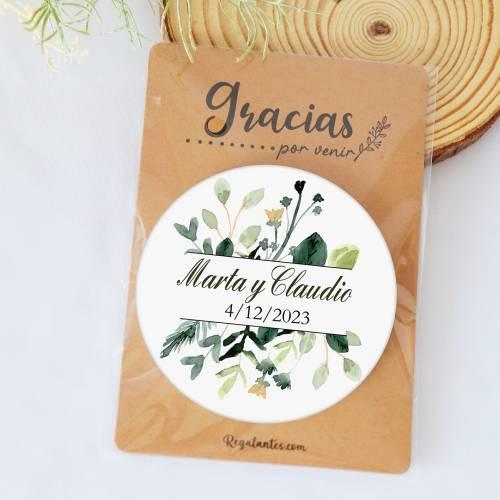 "Chapa personalizada con espejo ""Nature"" detalles boda - Chapas Espejos Personalizados Boda"
