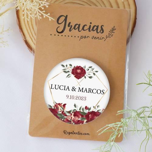 Chapa personalizada con espejo modelo Amapola detalles boda - Chapas Espejos Personalizados Boda
