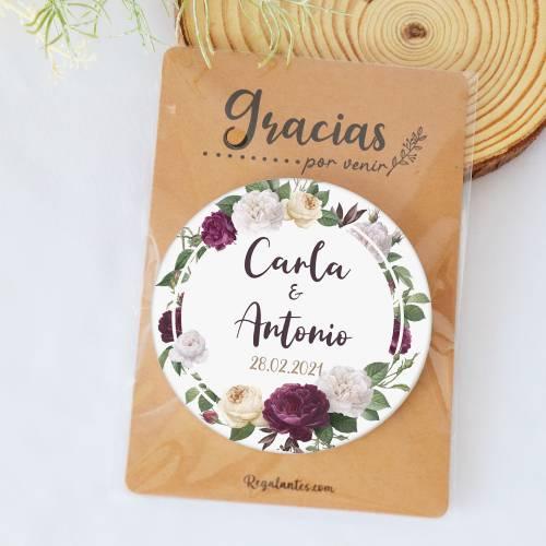 Chapa personalizada con espejo modelo Violet detalles boda - Chapas Espejos Personalizados Boda
