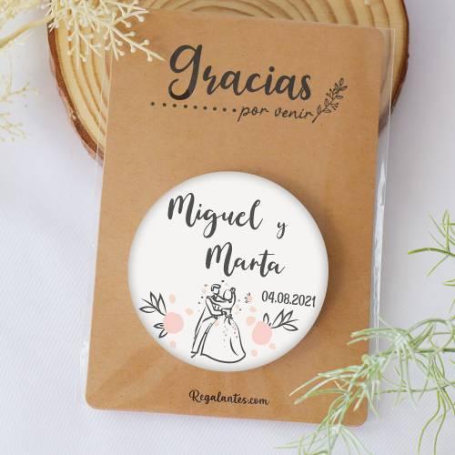 Chapa personalizada con espejo modelo Juntos detalles boda - Chapas Espejos Personalizados Boda