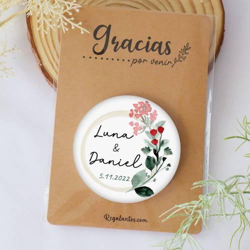 Chapa personalizada con espejo modelo Amor detalles boda - Chapas Espejos Personalizados Boda