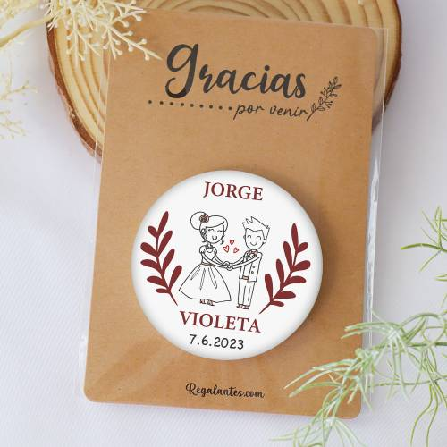 Chapa personalizada con espejo modelo Piscis detalles boda - Chapas Espejos Personalizados Boda