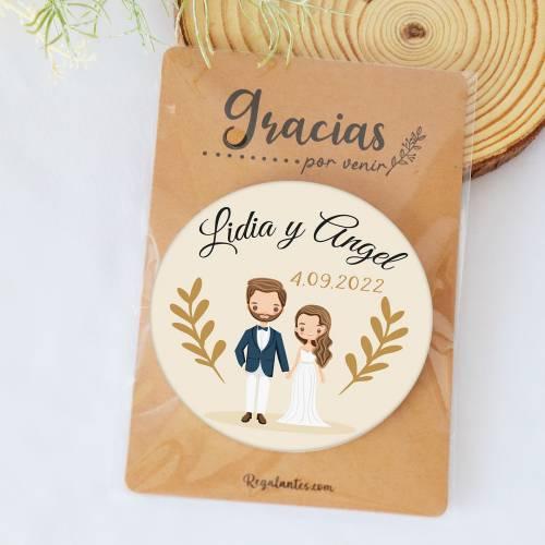 Chapa personalizada con espejo modelo Trigo detalles boda - Chapas Espejos Personalizados Boda