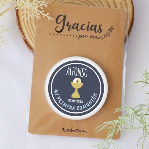 "Chapa personalizada con espejo ""Alonso"" detalles comunión - Chapas Espejos Personalizados Comunión"
