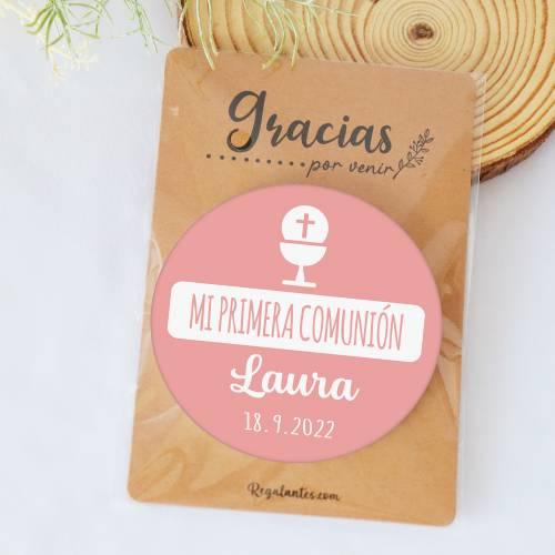 """Chapa personalizada con espejo """"Laura"""" detalles comunión - Chapas Espejos Personalizados Comunión"""