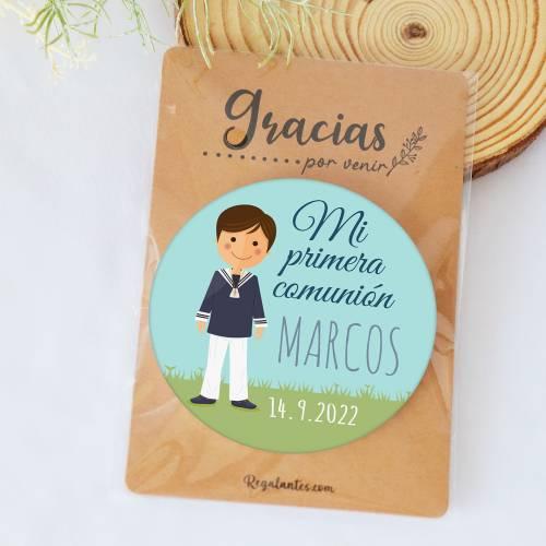 """Chapa personalizada con espejo """"Marcos"""" detalles comunión - Chapas Espejos Personalizados Comunión"""