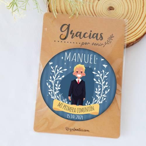 """Chapa personalizada con espejo """"Manuel"""" detalles comunión - Chapas Espejos Personalizados Comunión"""